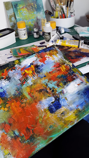 Carmen Wing - Canvas - textured work in progress