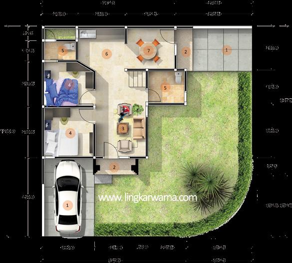 Denah rumah dua lantai dengan luas lahan 148m2