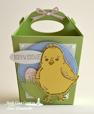 North Coast Creations Stamp Set: Hey Chickie, North Coast Creations Custom Die: Chick, Our Daily Bread Designs Custom Dies: Glorious Gable Box, Grass Hill, Double Stitched Circles, Circle Ornaments, Easter Eggs