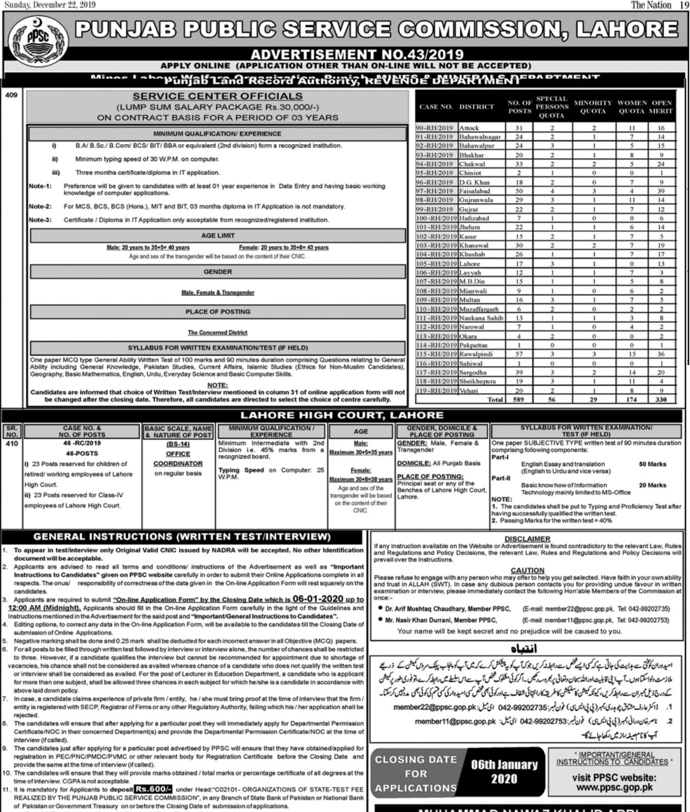 500+ Vacancies Punjab Land Record Authority Jobs January 2020