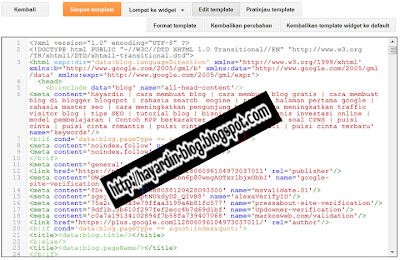 Tampilan Template Editor HTML Blogger Terbaru 2013