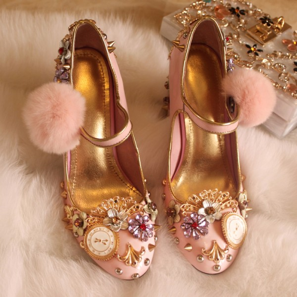 Women's Pink Sequins Rhinestone Embellished Mary Jane Vintage Heels