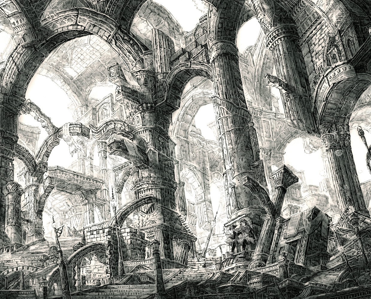 19-Buttress-Columns-Mita-Mitauzo-実-田-く-ら-Intricate-Japanese-Architectural-Drawings-www-designstack-co
