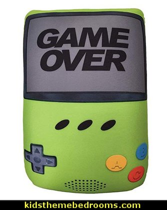 Game Over! Hand Held Game Shaped  Pillow   Gamer bedroom - Video game room decor - gamer bedroom furniture - gamer wall decal stickers - Super Mario Brothers Wall Stickers - gamer bedding - Super Mario Brothers bedding - Pacman decor -  Retro Arcade bedrooms - 80s video gamers - gamer throw pllows - minecraft bedroom ideas - minecraft bedroom decor