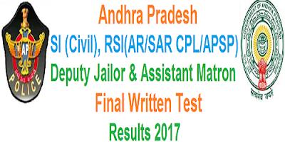 AP SI RSI Deputy jailor FWT results 2017