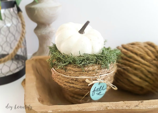 fall decorating with DIY rope bowl
