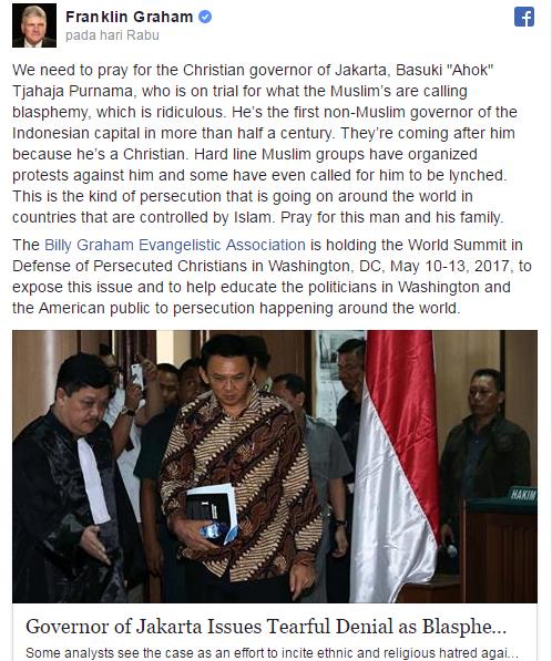 Penginjil Internasional ini memfitnah Umat Islam Sebagai Garis Keras Dan Serukan Bela Ahok