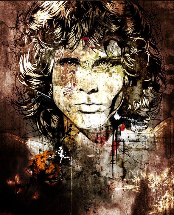 Jim Morrison | Patrice Murciano 1969 | French Pop Art and Mix Media painter | Les Gribouillis