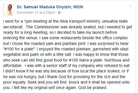See why Peace Mass Transit owner chose to eat beans and plantain