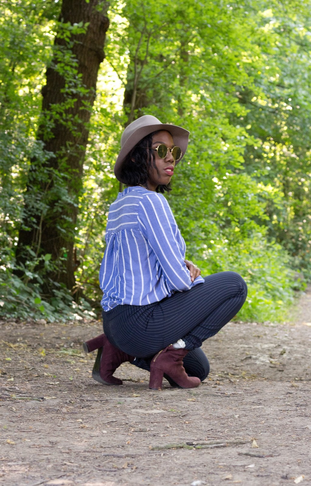 Authentic Beauty in Blogging, boden suede wine boots, H&M Striped blue shirt, H&M Pinstripe navy blue trousers, H&M brown suede fedora, floppy fedora hat, asos mirror sunglasses, fryent way country park, fashion photography, blogger photography, fashion blogger photography, style, summer style, spring style, nautical styling, 100 ways to 30, uk fashion and life blog, H&M womenswear