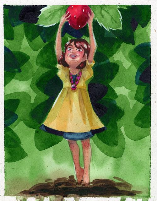 hemp paper, watercolor illustration, kidlit illustration, cute illustration, berry picking, kid picking berries