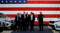 President Trump with U.S. auto industry executives and EPA Administrator Scott Pruitt (second from left) in Ypsilanti, Michigan. (Credit: Reuters/Jonathan Ernst) Click to Enlarge.