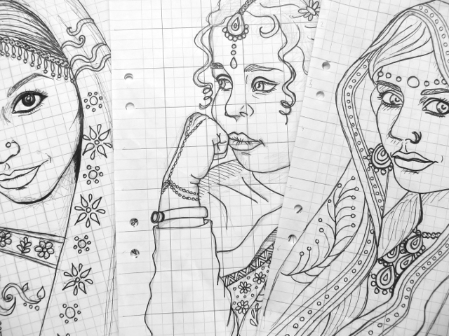 india portrait sketches coloring book