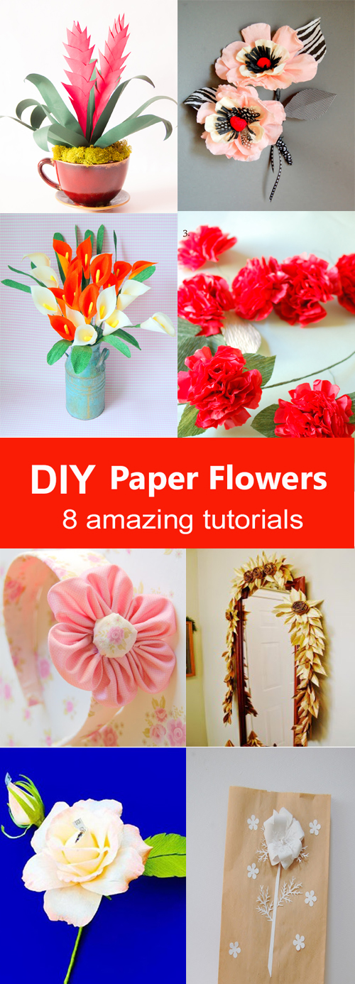 pretty gathering of paper flower tutorials