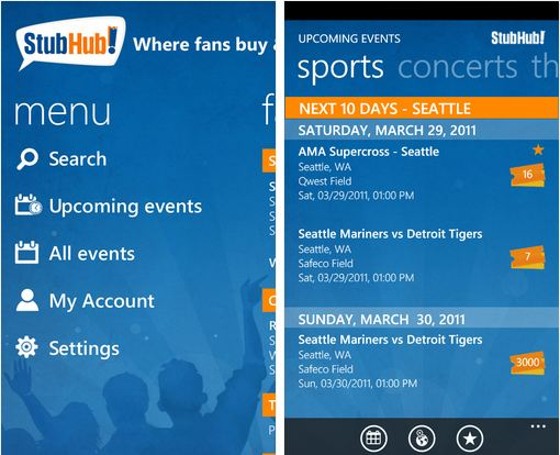 StubHub app for WP7