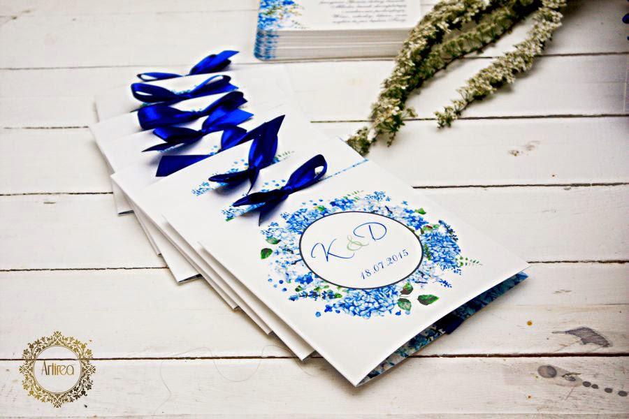niebieskie zaproszenia ślubne artirea