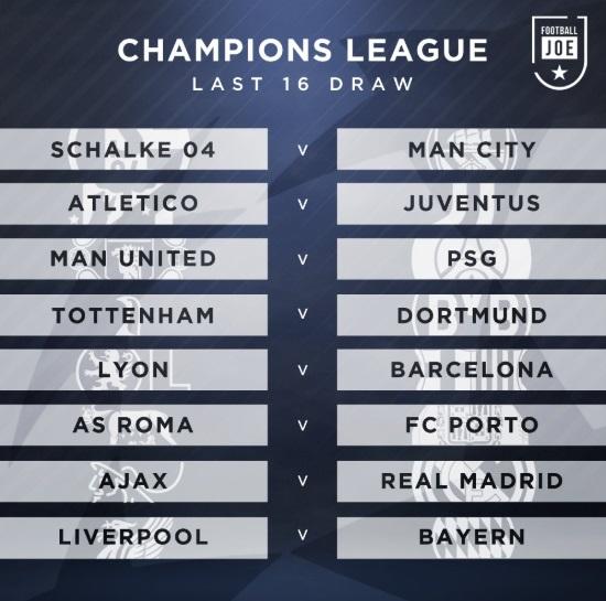 UEFA Champions League 2018-19 Knockout Schedule