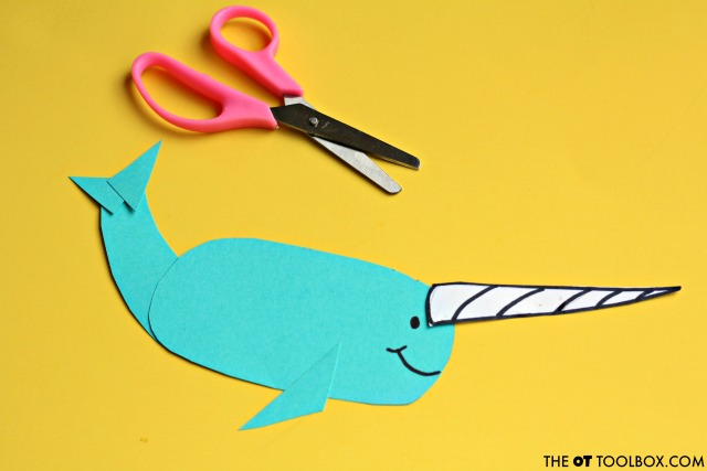 Use an ocean theme narwhal craft to work on scissor skills with kids.