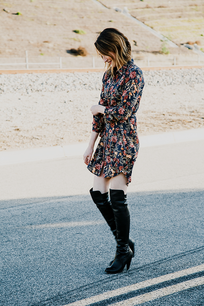 Forever21 Navy Floral Shirt Dress and Frye OTK Boots