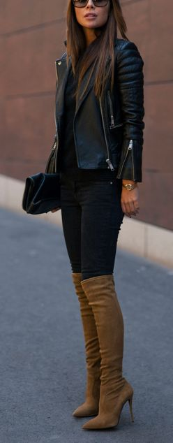 cool fall outfit : biker jacket + top + black skinnies + nude high boots