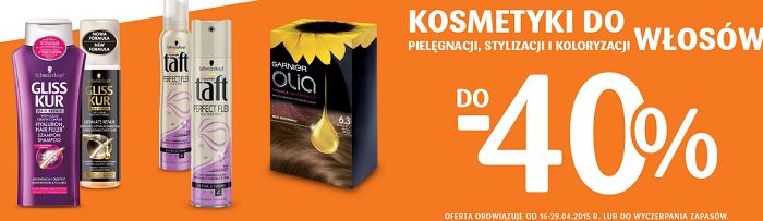 -40% na farby, lakiery, pianki i produkty do pielęgnacji włosów drogeria natura