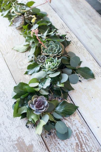 succulent and eucalyptus table garland
