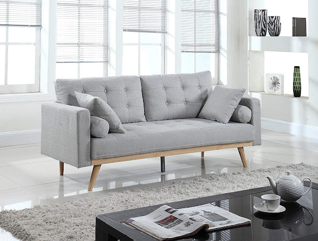 mid century modern light gray tufted sofa for small living rooms