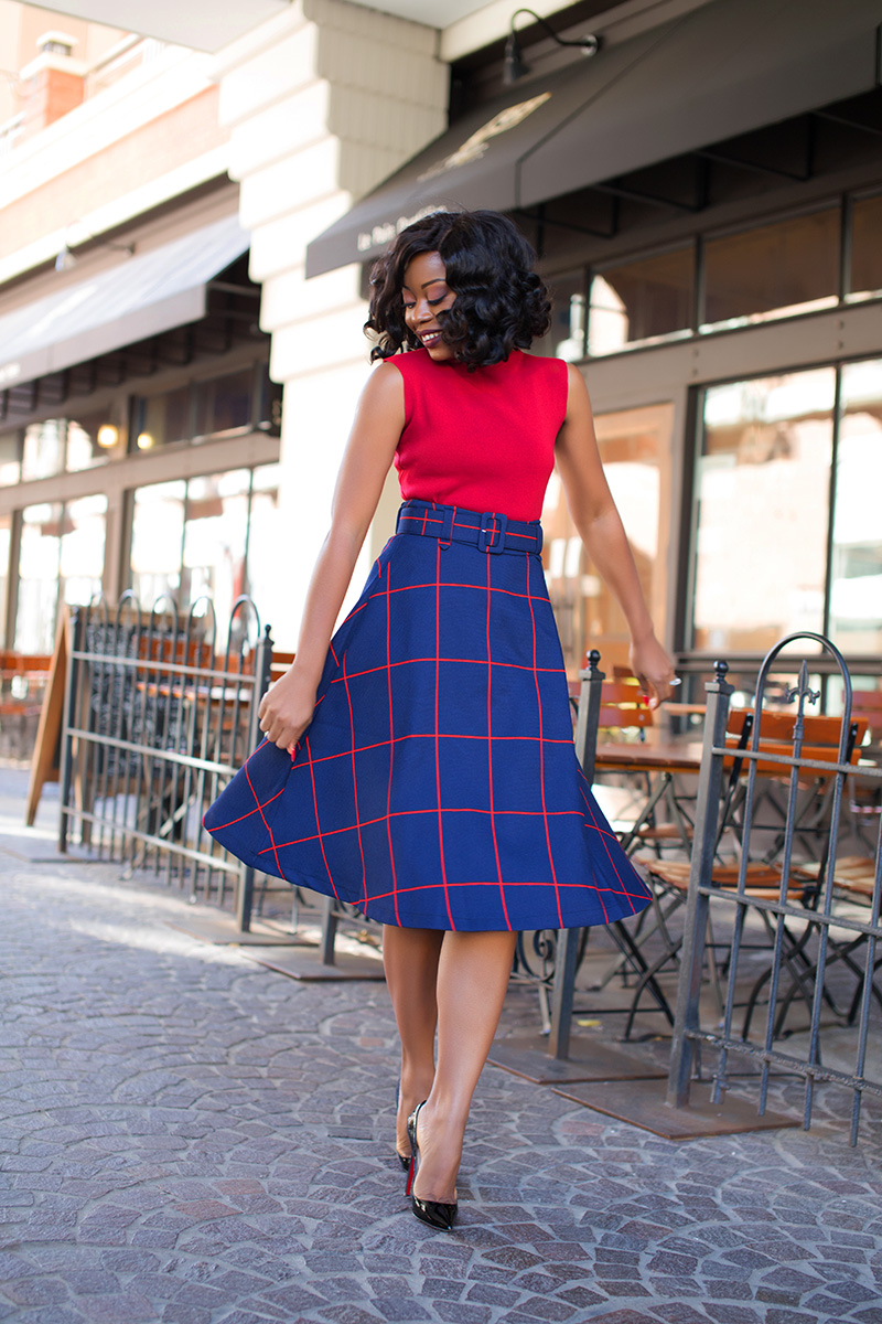 What to wear to holiday work event, midi plaid skirt, www.jadore-fashion.com