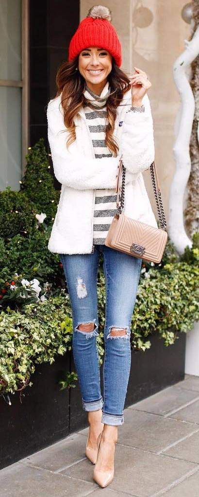 fashionable winter outfit / red hat + stripped top + fur jacket + ripped jeans  + heels + bag