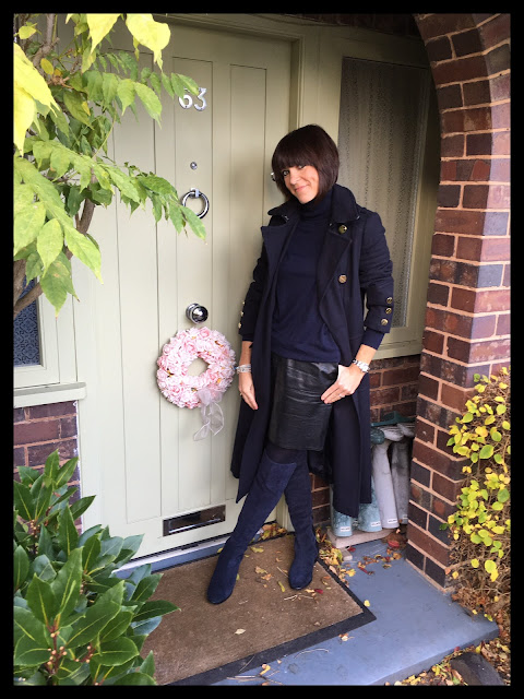 My Midlife Fashion, Wallis W Navy Military Coat, Faux Leather A Line Skirt Zara, Zara knitted polo neck jumper, Clarks Caddy Belle Over The Knee Boots
