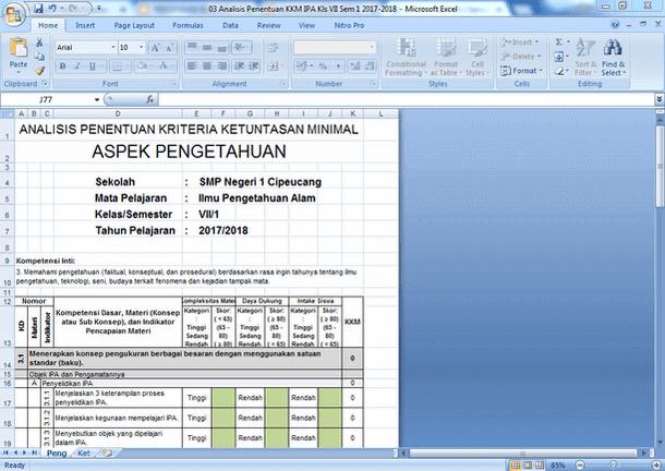 Contoh Analisis Penentuan KKM (Aspek Pengetahuan dan Keterampilan) Kurikulum 2013 dengan Microsoft Excel