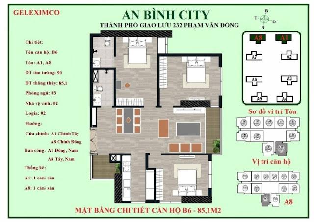 Mặt bằng thiết kế căn hộ B6 - 85m2 An Bình City