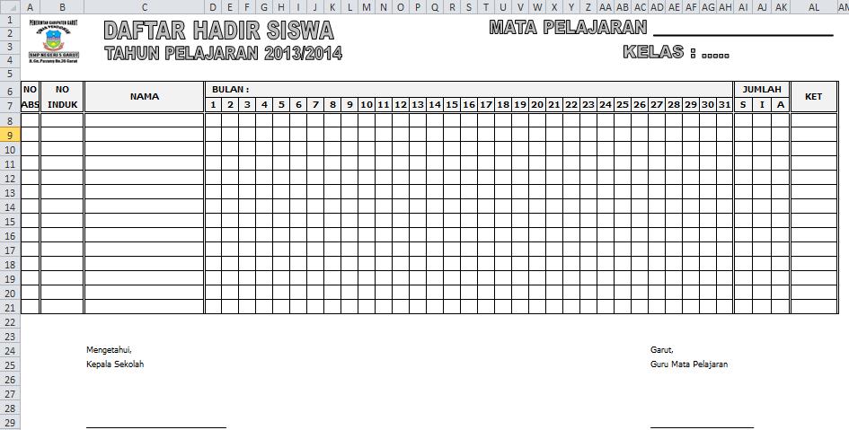 Contoh Absensi Daftar Hadir Siswa Excel Sedikit Berbagi