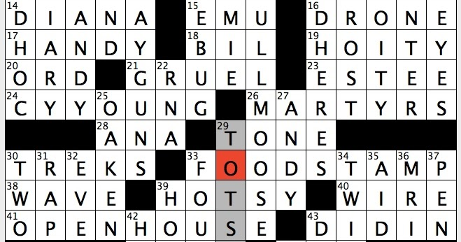 Wishy washy one crossword
