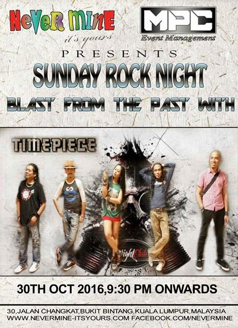Event Timepiece Sunday Rock Night Blast from Past | 30 Oct 2016 Onwards