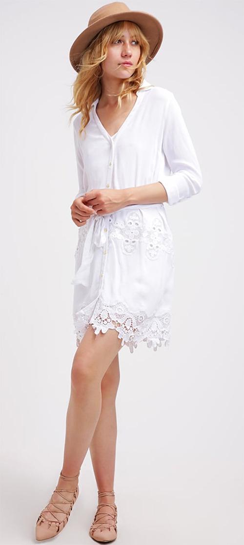 Robe chemise blanche en dentelle River Island