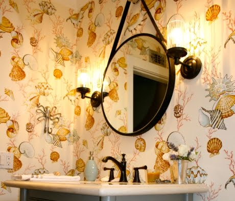powder room with Thibaut wallpaper