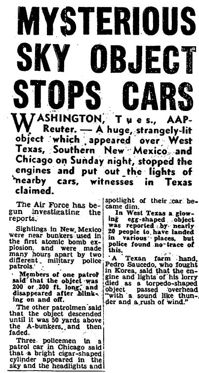 Mysterious Sky Object Stops Cars - The Sun 11-6-1957