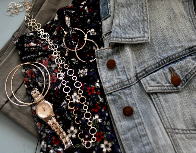 shorts, floral top and jean vest