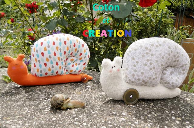 Coton et Création : Escargots en tissu