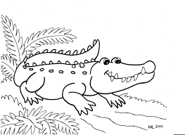 Printable Baby Crocodile At Forest Coloring Sheet Images