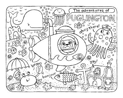 puglington pug in a submarine explores the ocean floor