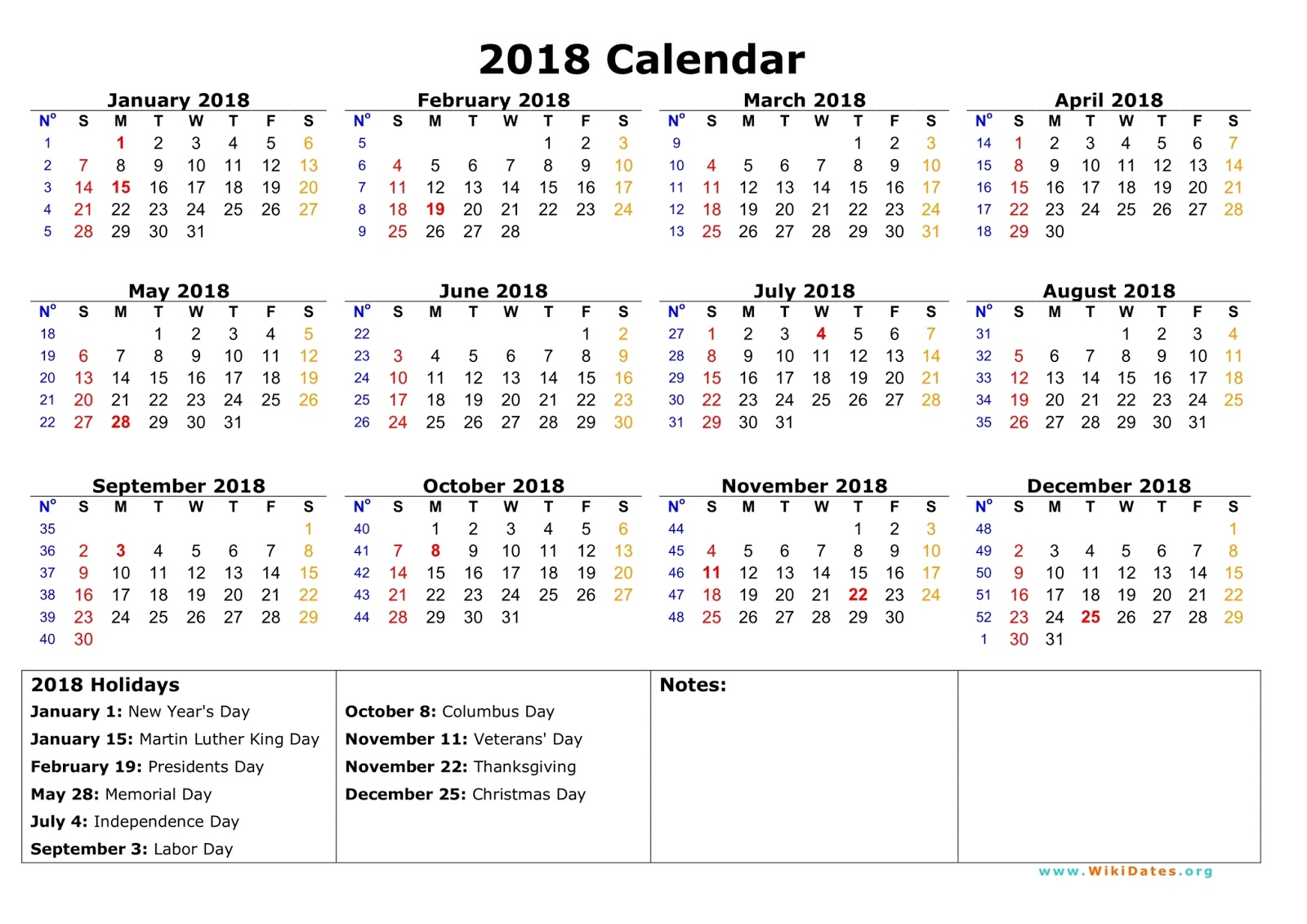 2018 12 Month Calendar Nevse Kapook Co