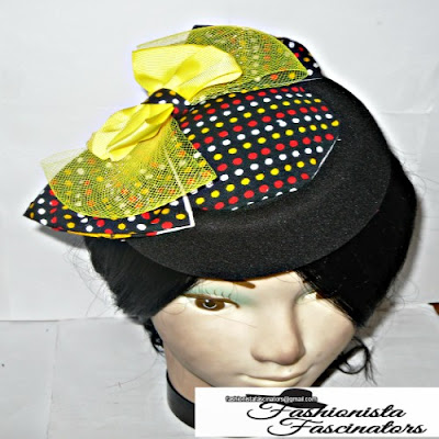 yellow and black African print pillbox fascinator hat Nairobi Kenya
