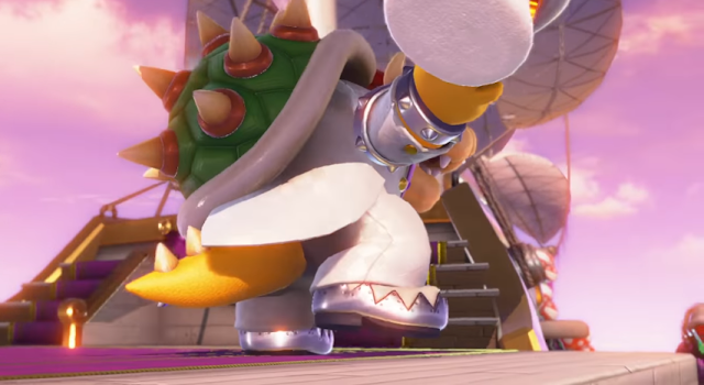 Super Mario Odyssey wedding suit dapper Bowser hat waving bye farewell turned around backside