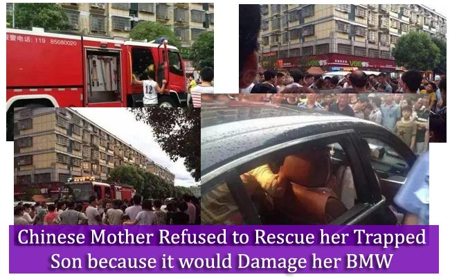 Chinese Mother Refused to Rescue her Trapped Son because it would Damage her BMW