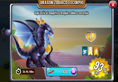 imagen de la oferta del dragon zodiaco escorpion de dragon city