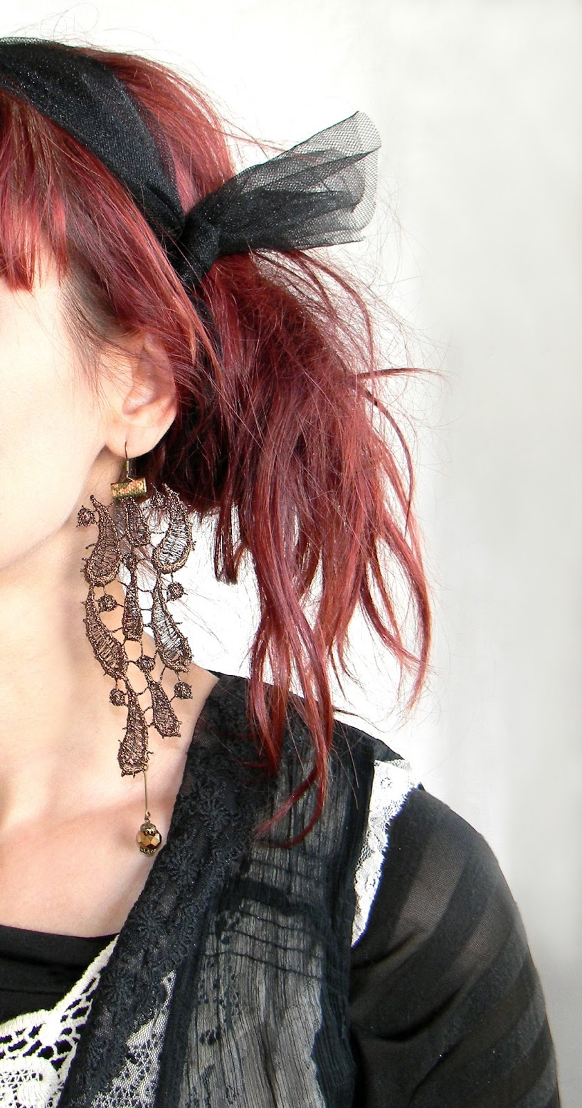 Baroque Vintage Lace Earrings Oversized Long Earrings in Mocha Cognac