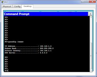 Компьютер PC2 получил IP адрес из пула для vlan 2