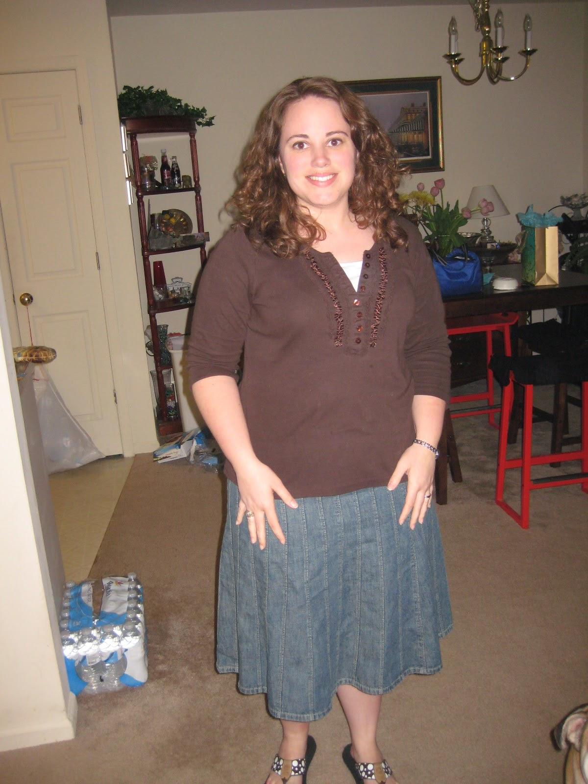 f88e1132f896 denim skirt  Dillard s brown 3 4 sleeve shirt  Bass flip flops  Yellow Box